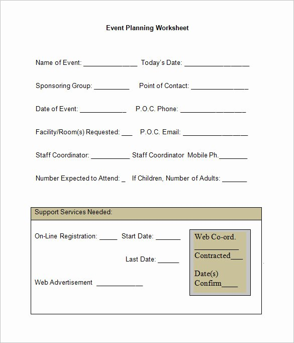 Event Planning Worksheet Template Best Of 5 event Planning Worksheet Templates – Free Word
