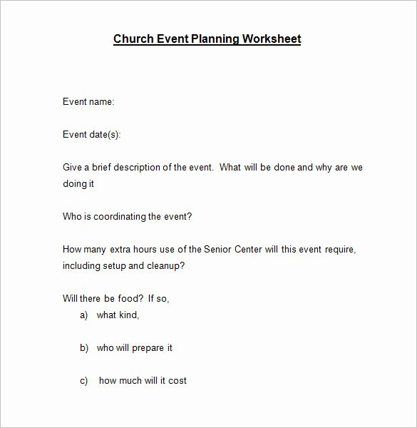 Event Planning Worksheet Template Fresh 5 event Planning Worksheet Templates – Free Word