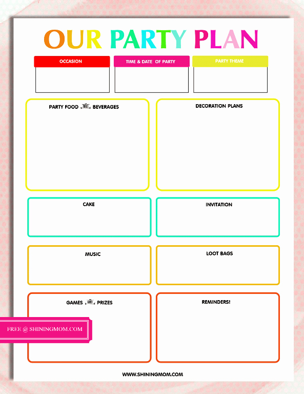 Event Planning Worksheet Template New Free Printable Party Planning Template