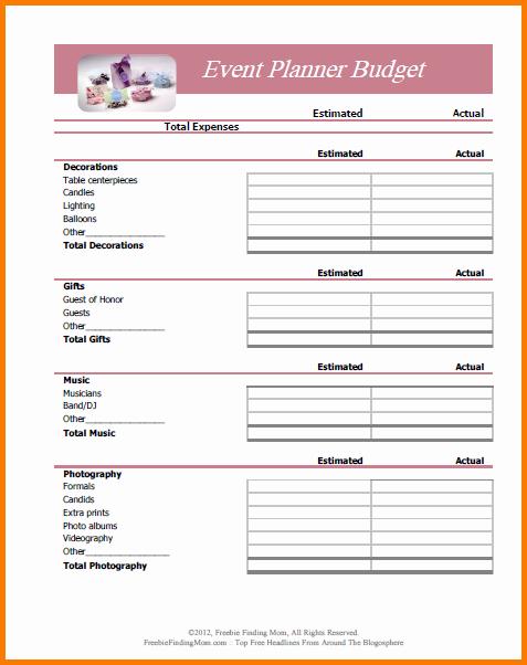 Event Planning Worksheet Template Unique 5 Bud Planner Worksheet