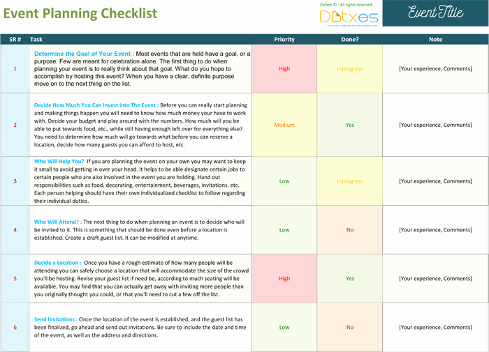 Event Planning Worksheet Template Unique event Planning Checklist to Keep Your event Track