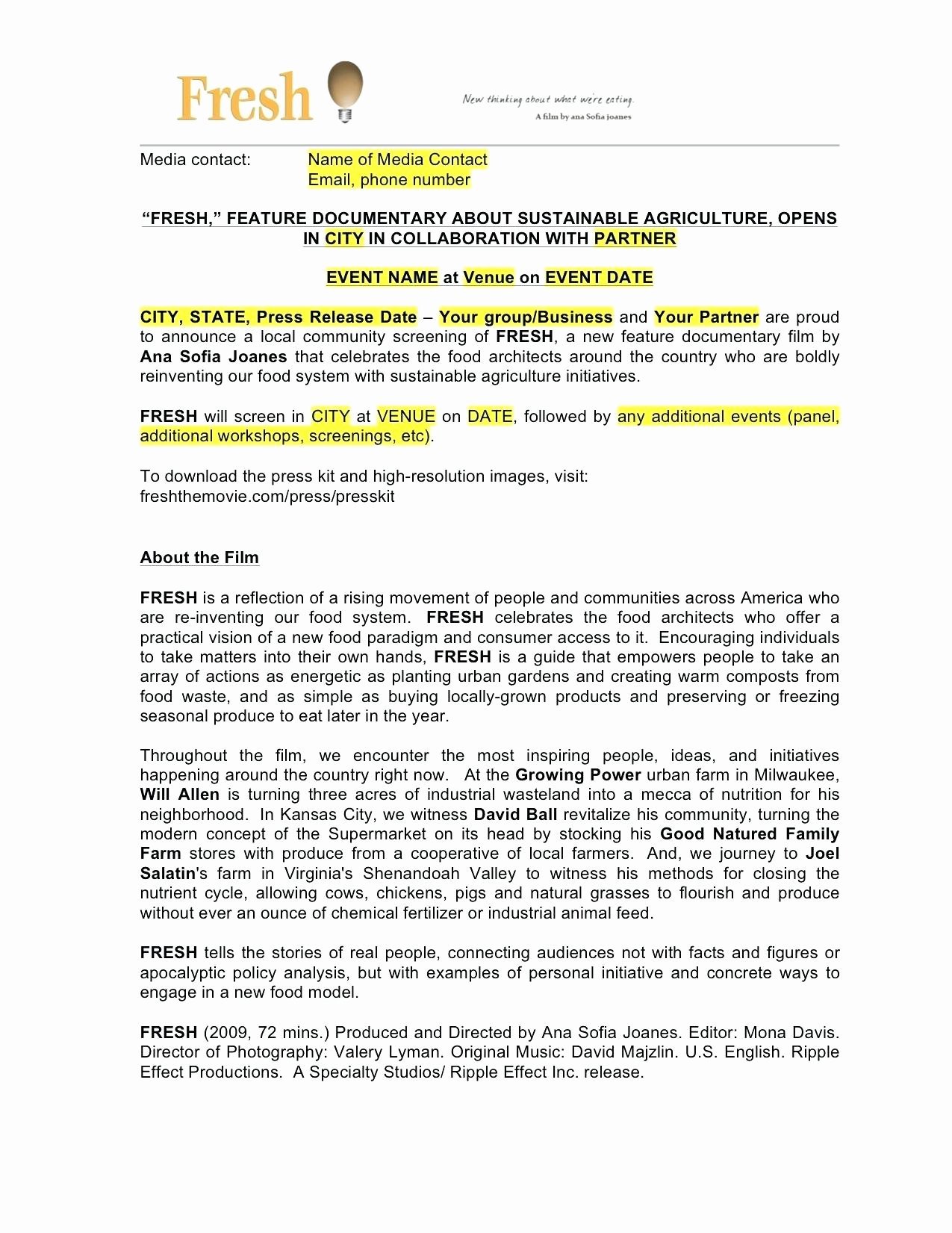 Event Press Release Template Best Of Template Award Press Release Template