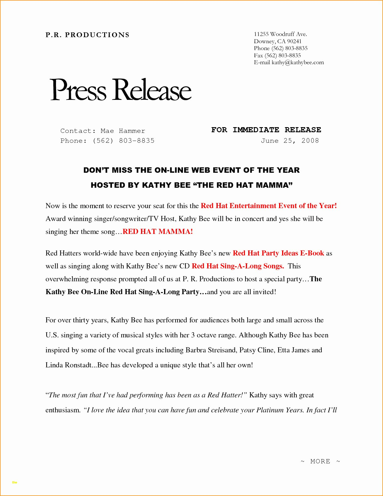 Event Press Release Template Elegant Unique event Press Release Template