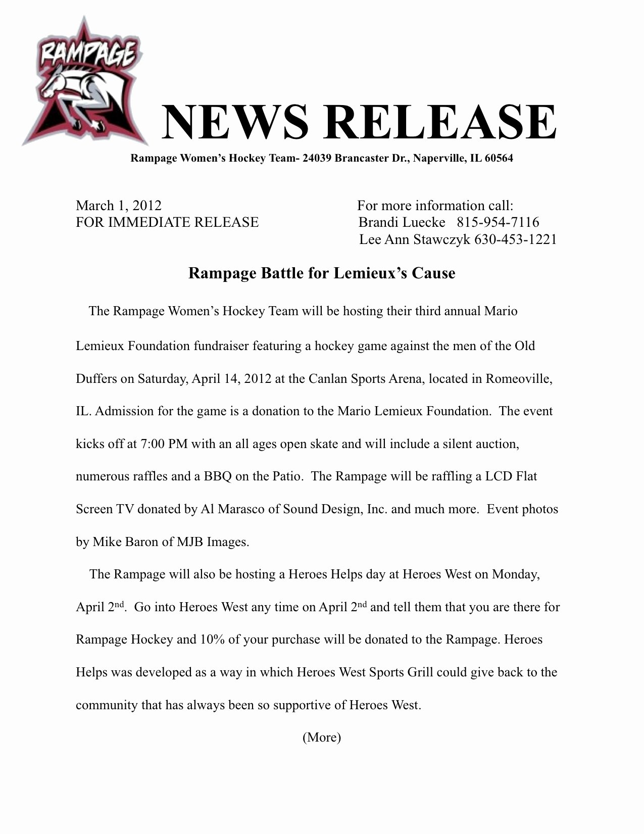 Event Press Release Template Inspirational Zzzzzz Romeoville Rampage Women S Ice Hockey Club