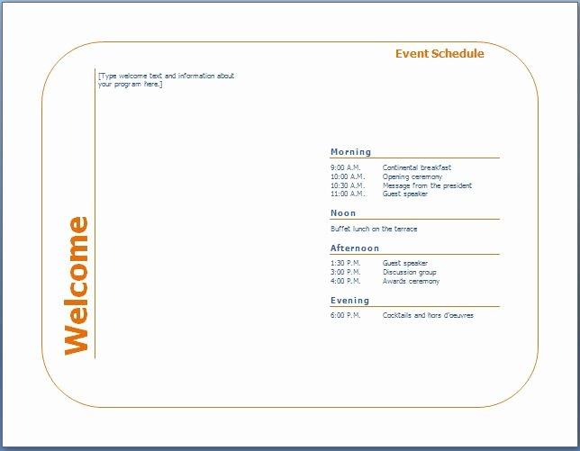 Event Program Template Word Beautiful Generic event Program Template