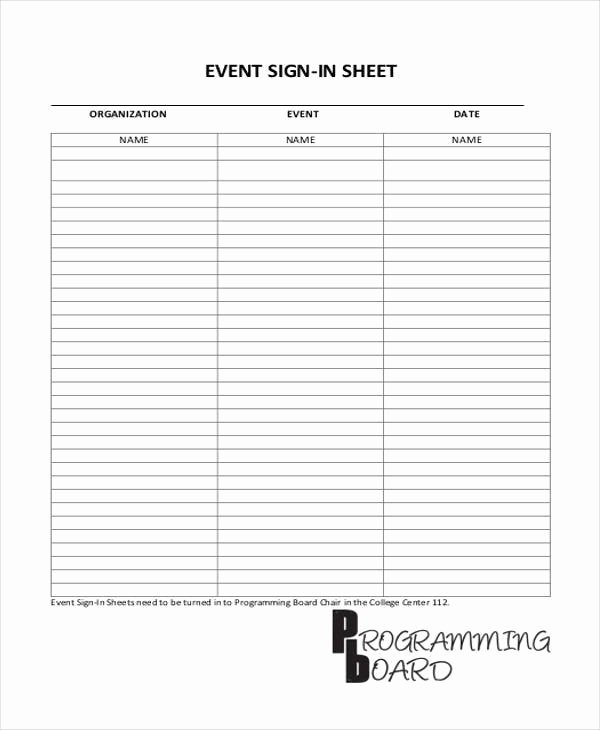 Event Sign In Sheet Template Awesome 45 Sheet Templates