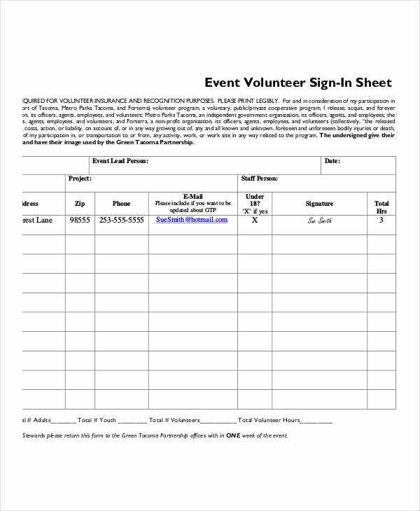 Event Sign In Sheet Template Fresh Volunteer Sign In Sheet Templates 14 Free Pdf Documents
