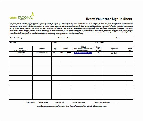 Event Sign In Sheet Template Inspirational 18 Sign In Sheet Templates – Free Sample Example format