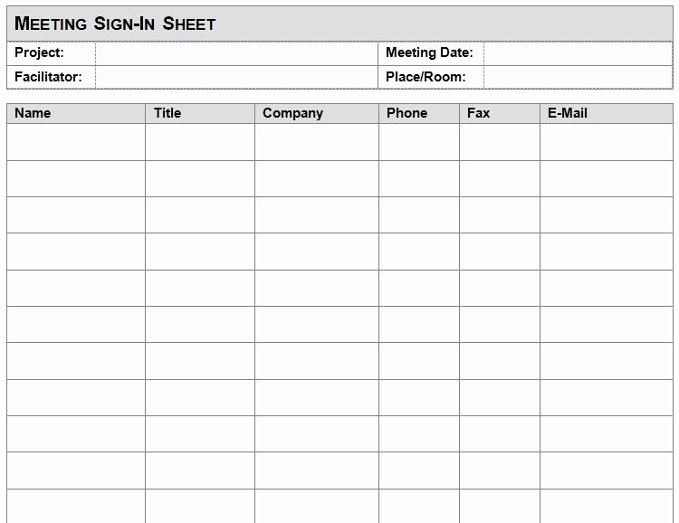 Event Sign In Sheet Template Luxury Meeting Sign In Sheet Template