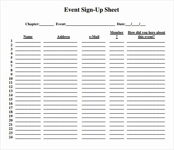 Event Sign In Sheet Template New 13 Sign Up Sheet Samples