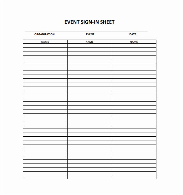 Event Sign In Sheet Template New 18 Sign In Sheet Templates – Free Sample Example format
