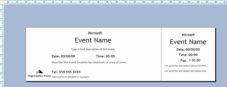 Event Ticket Template Word Awesome Microsoft Office Ticket Template – Flybymedia