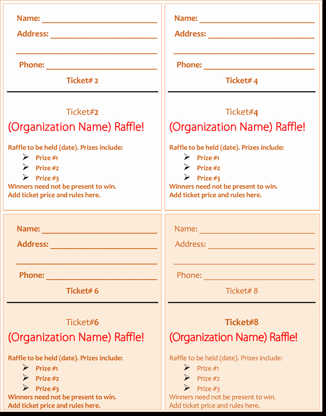 Event Ticket Template Word Beautiful 20 Free Raffle Ticket Templates with Automate Ticket