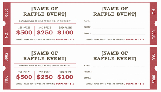 Event Ticket Template Word Lovely Raffle Ticket Template 5 Free Printable Templates Word