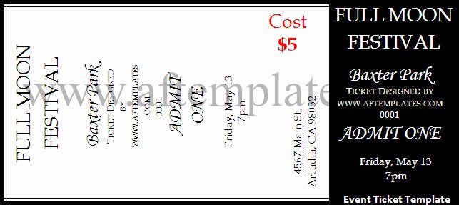 Event Ticket Template Word Unique event Ticket Template
