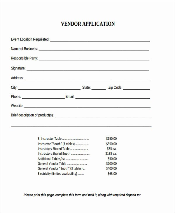 Event Vendor Application Template Beautiful 42 Agreement form format
