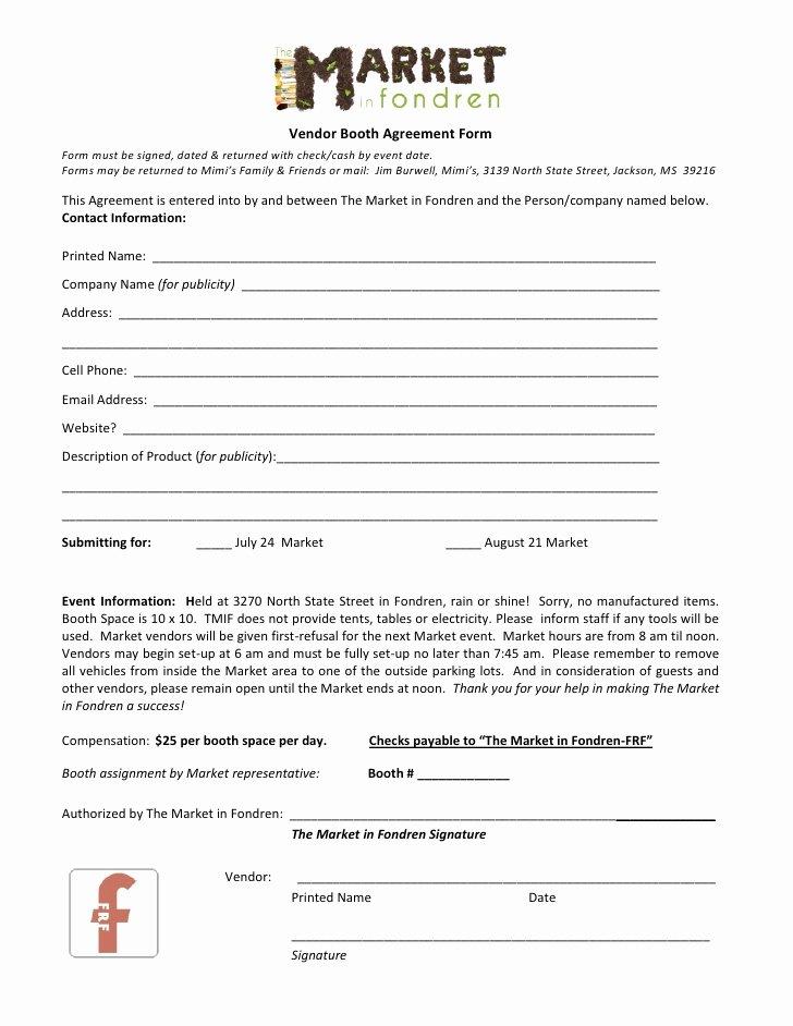 Event Vendor Application Template Elegant the Market In Fondren Vendor Agreement form