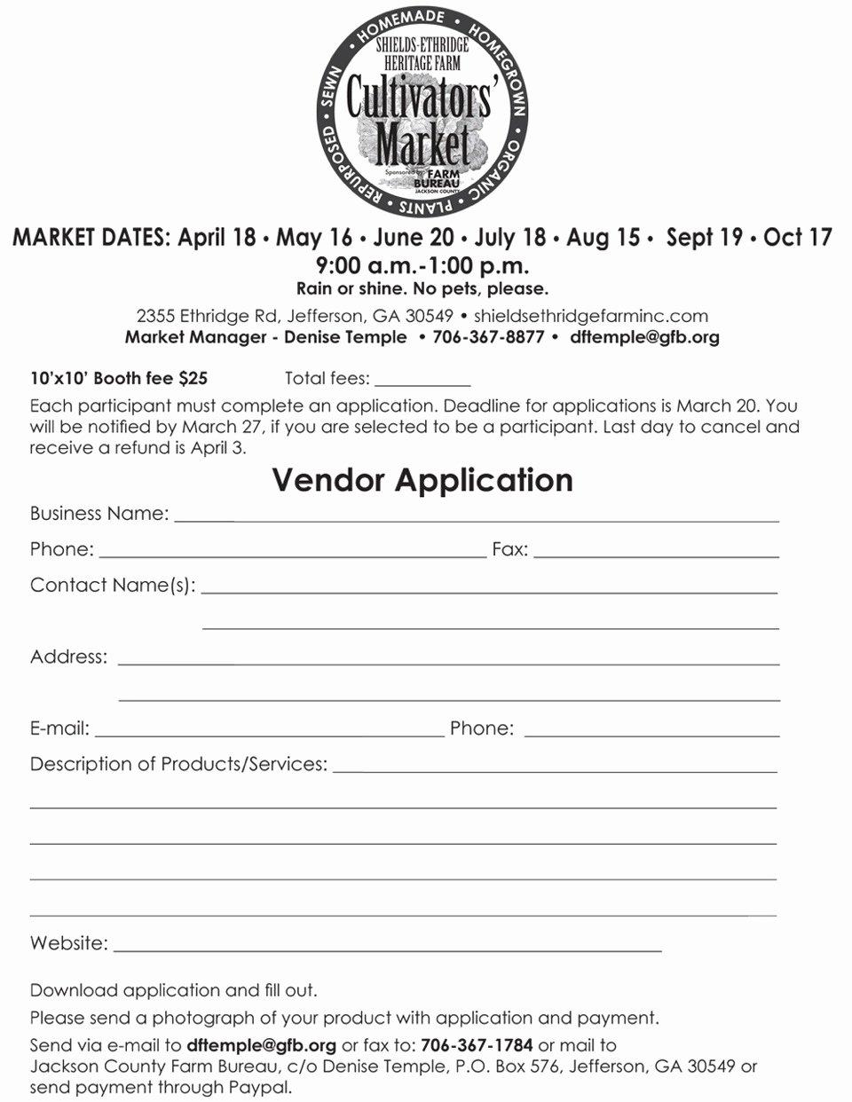 Event Vendor Application Template Inspirational Download Vendor Registration Application form