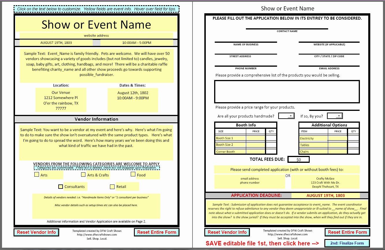 Event Vendor Application Template New Dfwcraftshows Vendor Applications Part Iii the Template