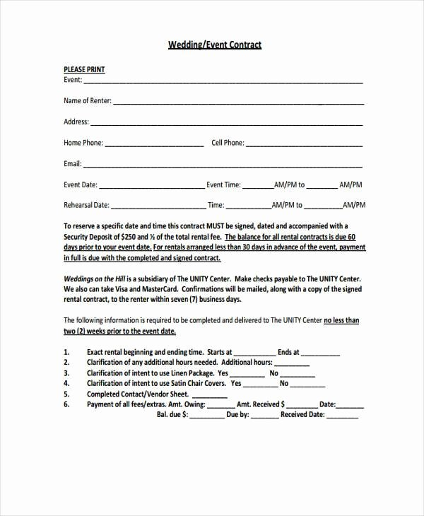 Event Venue Contract Template Awesome Contract forms In Pdf