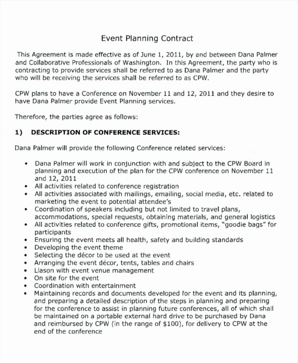 Event Venue Contract Template Beautiful event Contract Sample Wedding Planning Contract Templates