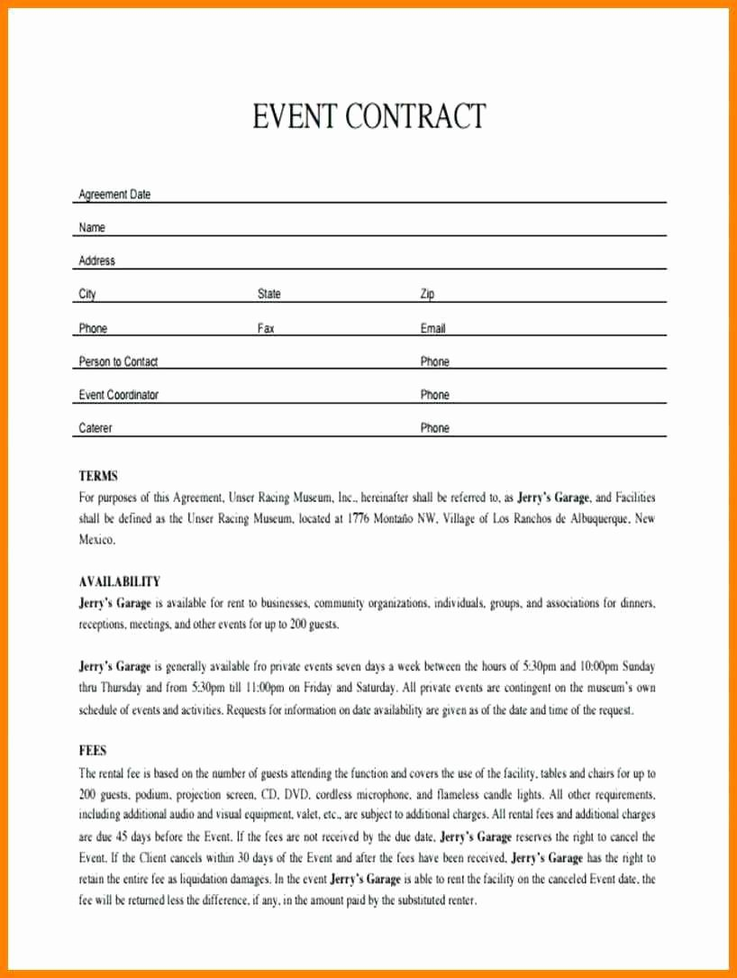 Event Venue Contract Template Beautiful event Planner Contract Sample – Invest Wight