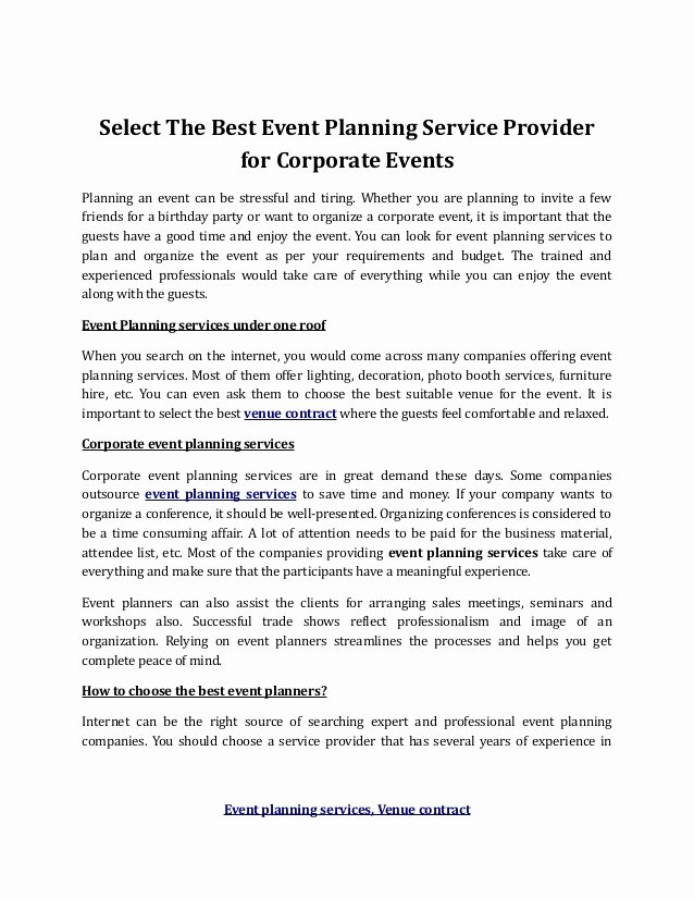Event Venue Contract Template Best Of event Planning Services Venue Contract