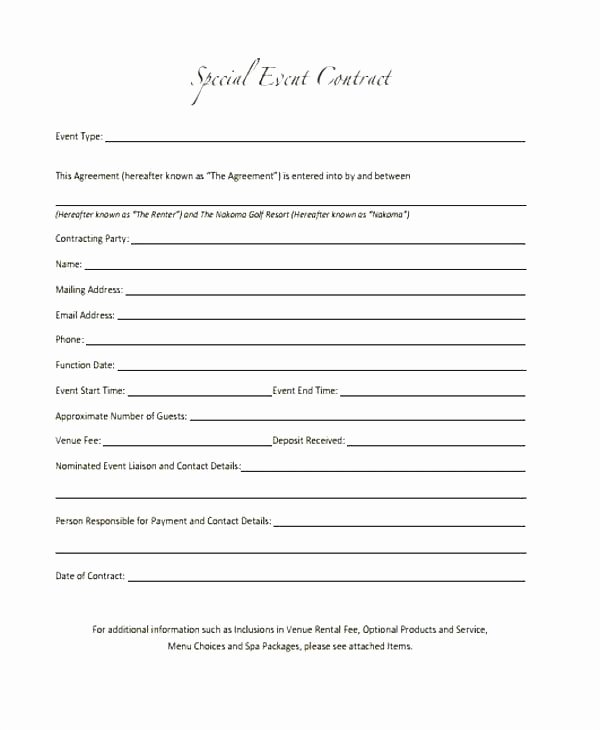 Event Venue Contract Template Best Of Graphy Contract Template Fresh Service Agreement Word