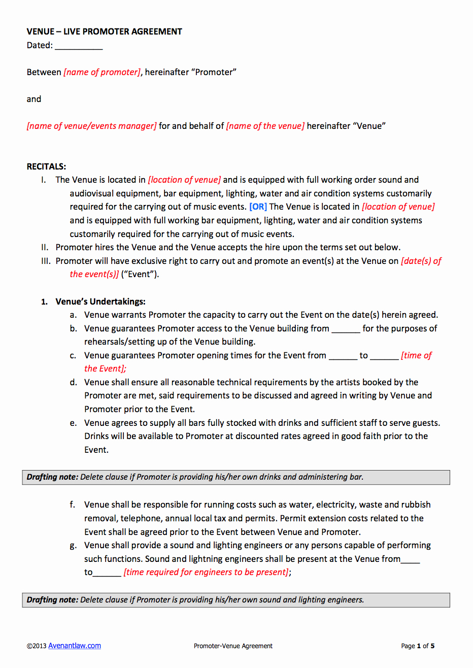 Event Venue Contract Template Best Of Promoter Venue Contract Template