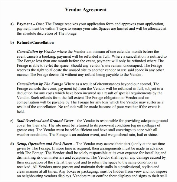 Event Venue Contract Template Inspirational 14 Vendor Contract Templates – Samples Examples & format