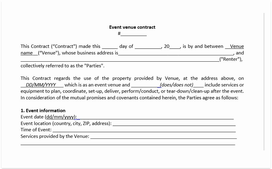 Event Venue Contract Template Inspirational event Venue Contract Template A Free Pdf Venue