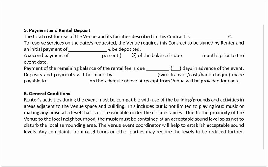 event venue contract template