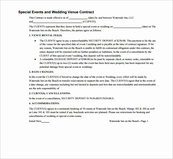 Event Venue Contract Template Unique 20 Wedding Contract Templates to Download