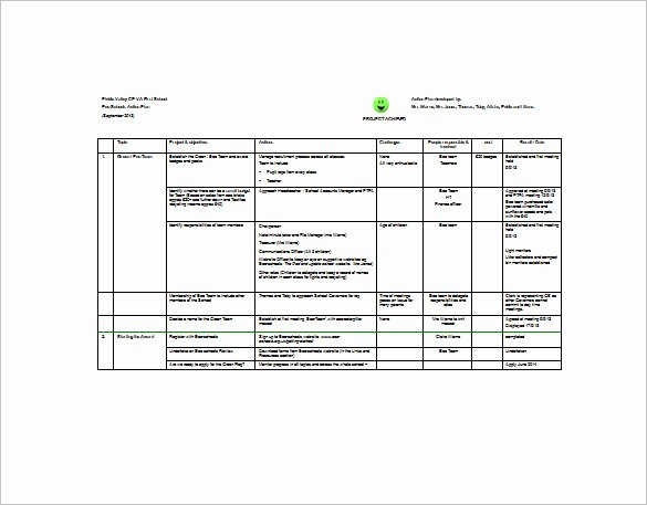 Example Of Project Plan Template Fresh Project Action Plan Template 11 Free Pdf Word format