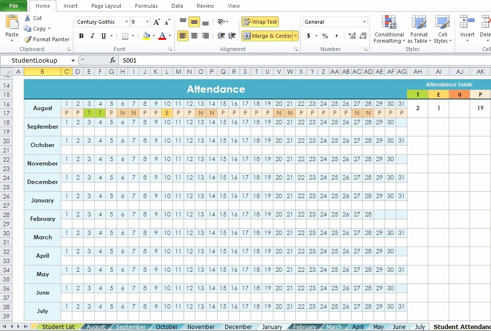 Excel attendance Tracker Template Awesome Professional Daily attendance format Template Excel Tmp
