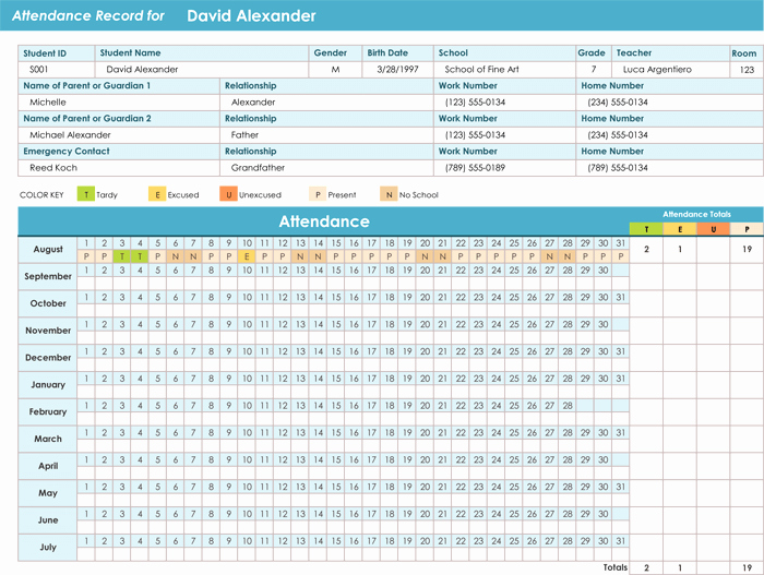 Excel attendance Tracker Template Beautiful attendance Tracking Templates 6 Excel Trackers and Calendars