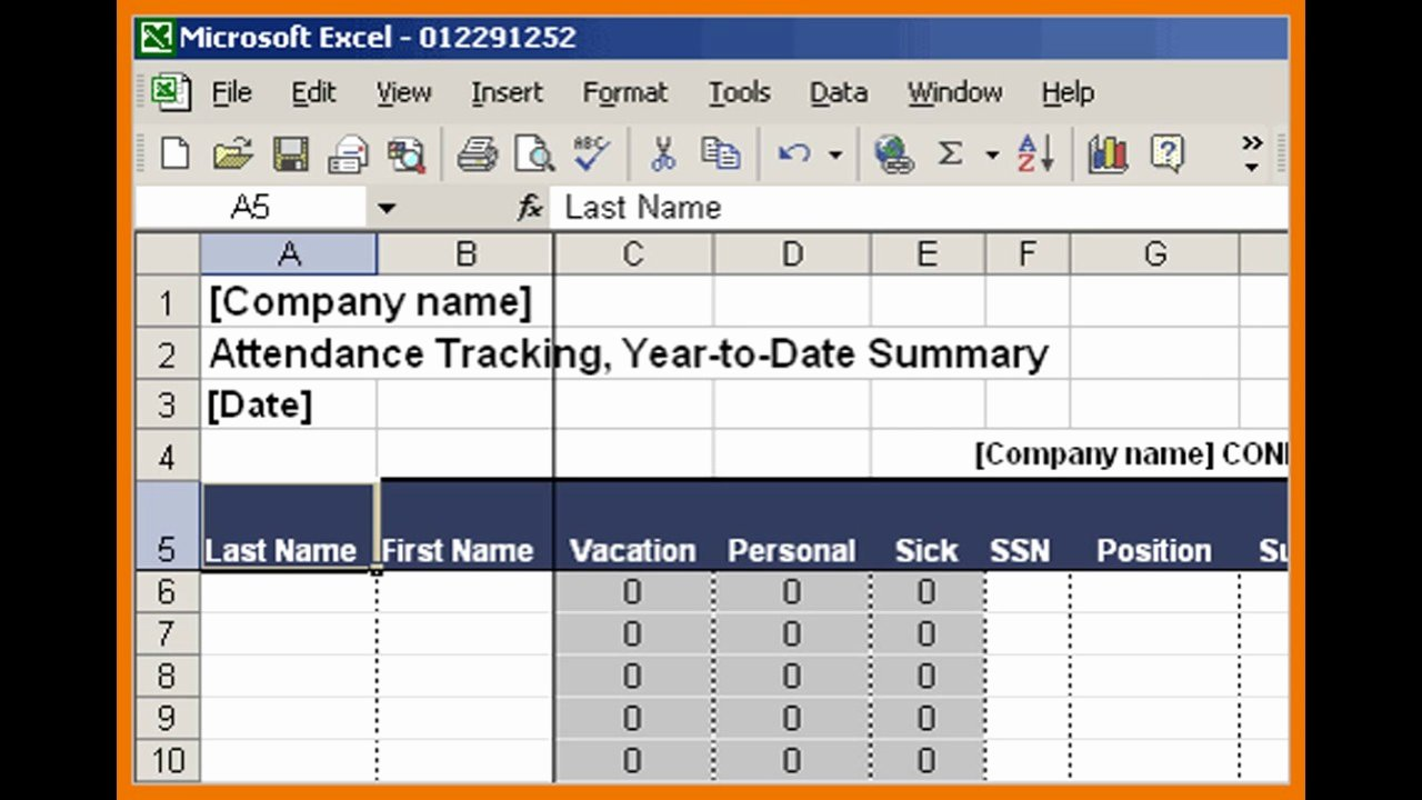 Excel attendance Tracker Template Unique attendance Tracking