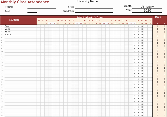 Excel attendance Tracker Template Inspirational attendance Tracking Templates 6 Excel Trackers and Calendars