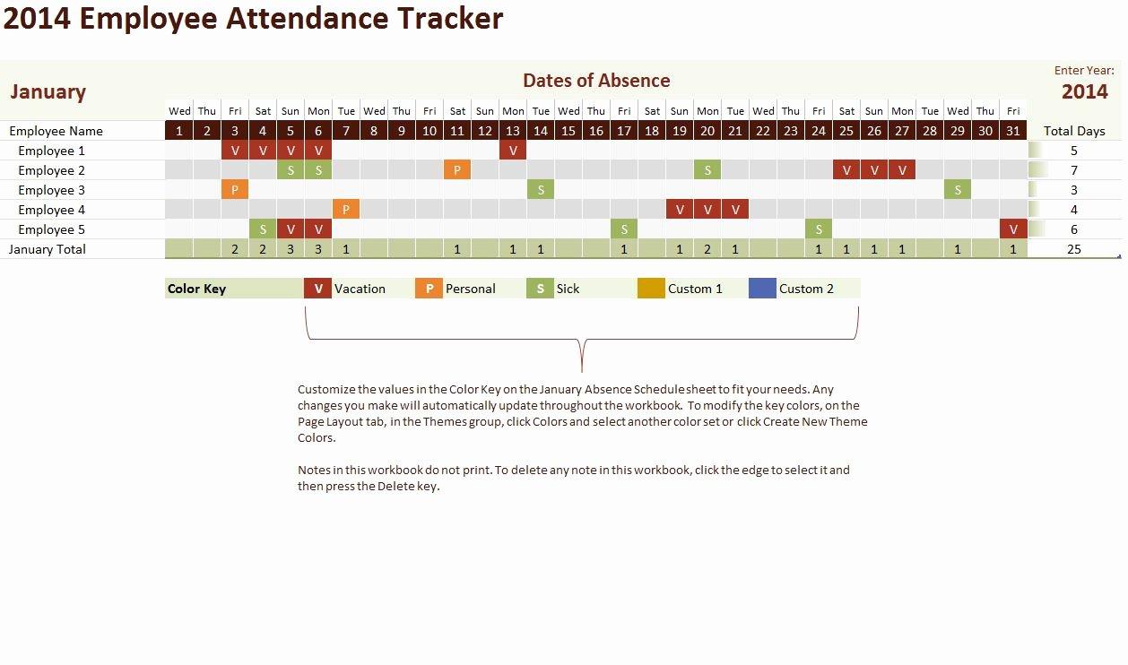 Excel attendance Tracker Template Lovely 2014 Employee attendance Tracker