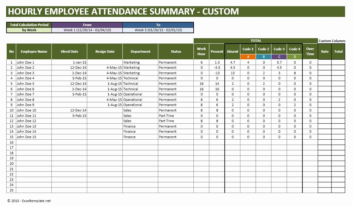 Excel attendance Tracker Template Lovely Employee Vacation Planner