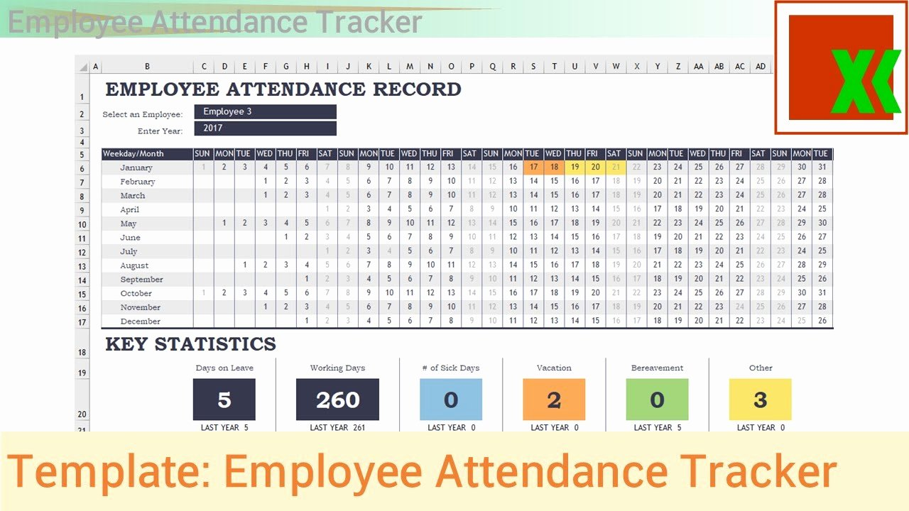Excel attendance Tracker Template Lovely Excel Template Employee attendance Tracker