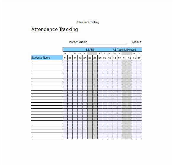 Excel attendance Tracker Template Unique attendance Tracking Template 10 Free Word Excel Pdf