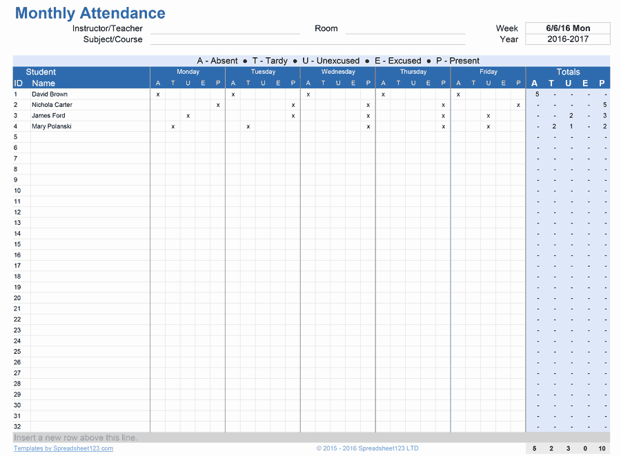 Excel attendance Tracker Template Unique Printable attendance Trackers for Excel