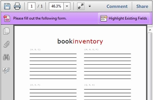 5 book inventory list templates