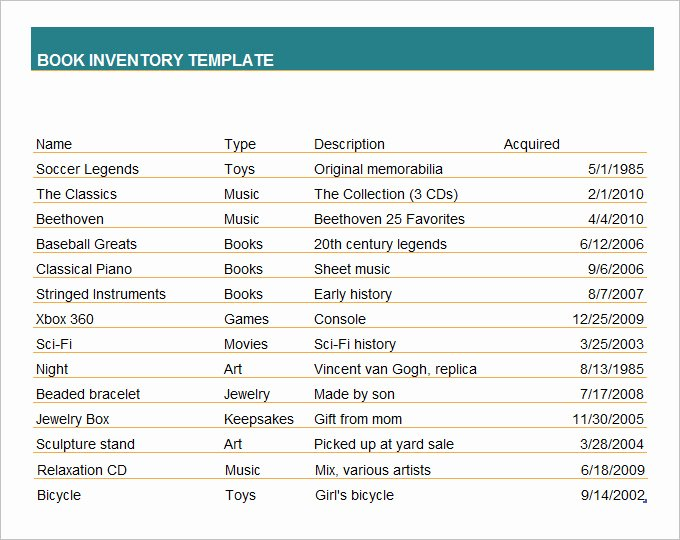 Excel Book Inventory Template Lovely Book Inventory Template 7 Free Excel Word Documents