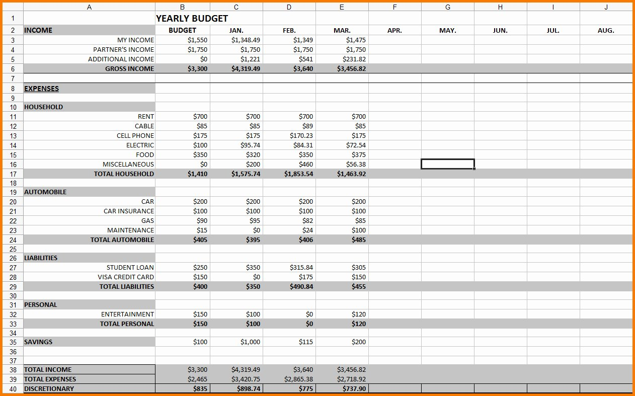 12 month business bud template excel