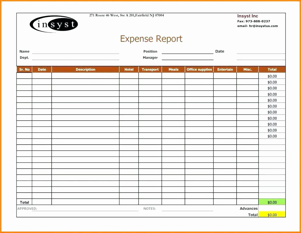Excel Business Expenses Template New Non Profit Expense Report Template In E Excel Cv In