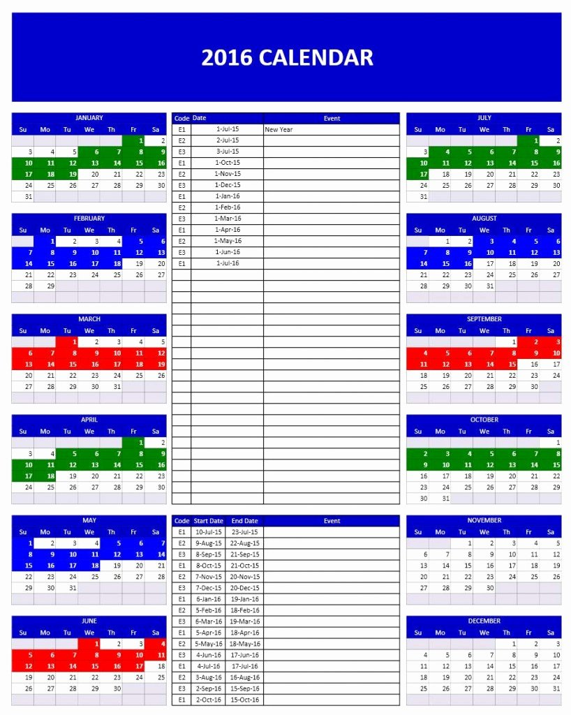 Excel Calendar Schedule Template Awesome 2016 Calendars