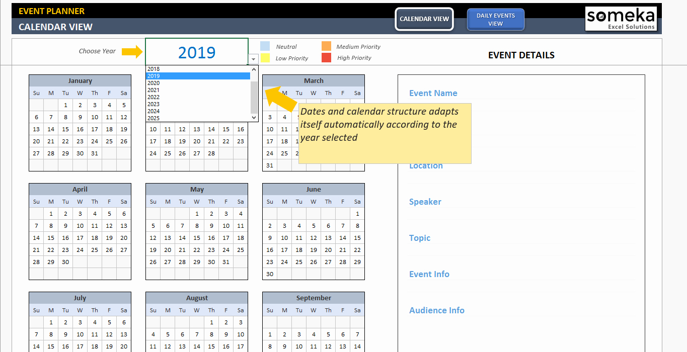 Excel Calendar Schedule Template Awesome Dynamic event Calendar Interactive Excel Tempate
