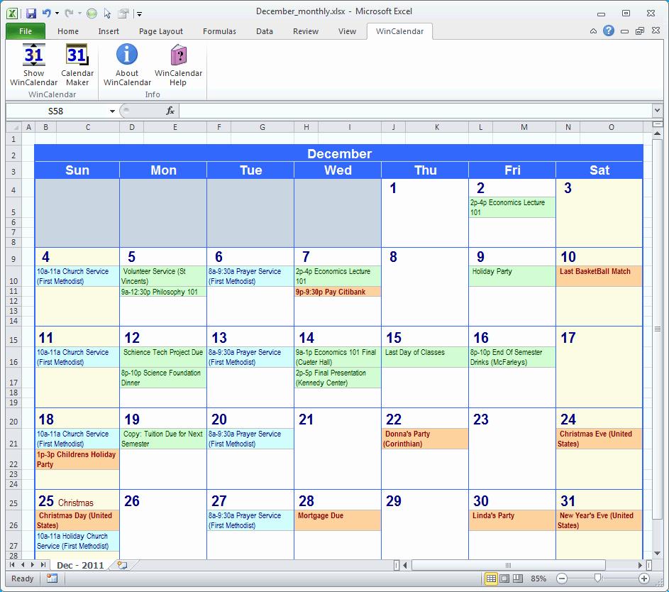 Excel Calendar Schedule Template Beautiful Excel Calendar Template
